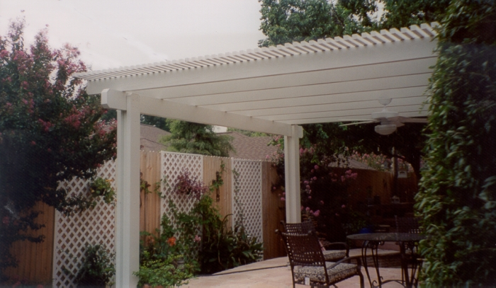 white patio awning